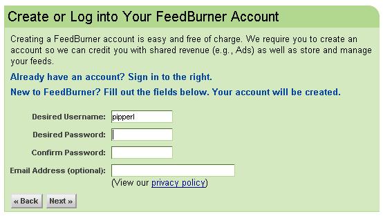 申請 FeedBurner: step 5