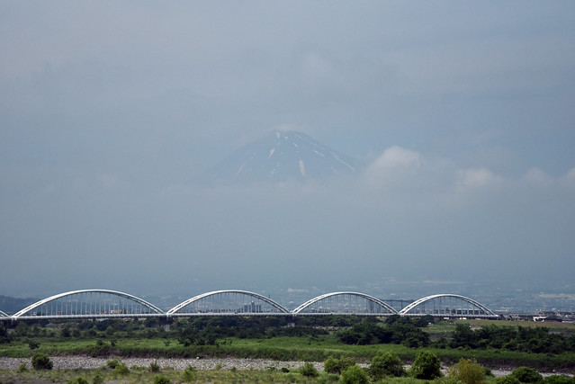 Famous view of Mount Fuji from the Tokaido Shinkan-sen bullet train