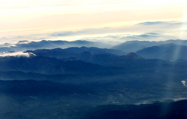 View from the Aircraft over the Alps