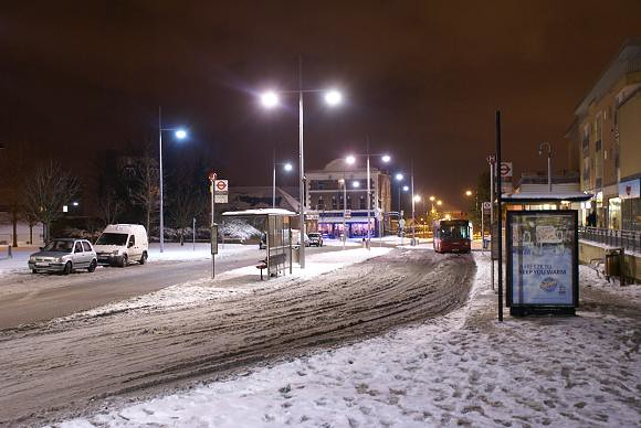 Erith Town Centre in the Snow at Night, 2010 (2)