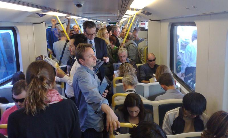 Crowded train, Frankston line (due to delays)