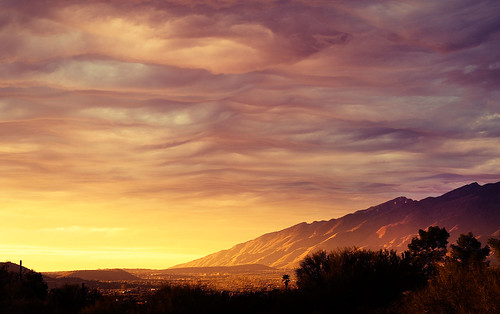 sunset arizona sky mountains yellow clouds 50mm nikon purple tucson valley f18 d300s