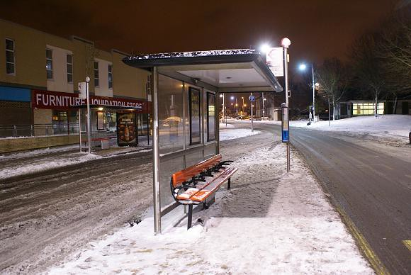 Erith Town Centre in the Snow at Night, 2010