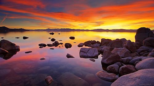 california sunset lake reflection harbor sand rocks nevada tahoe