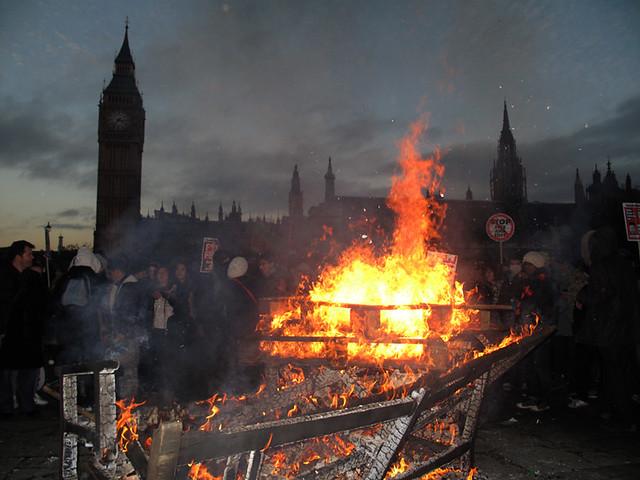 Student Protest. Bonfire of the Pledges.
