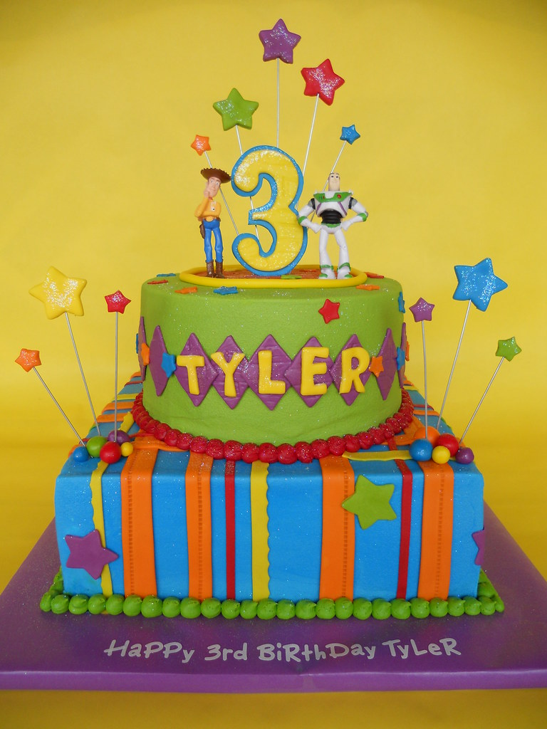 Awesome Toy Story 3Rd Birthday Cake Woody And Buzz Sit A Top A Bri Flickr Funny Birthday Cards Online Alyptdamsfinfo