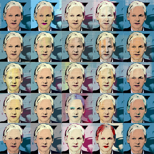 25 Assanges (Julian Assange by Andy Warhol)