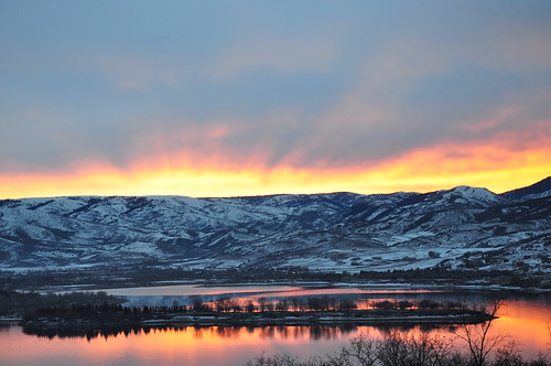 winter usa lake reflection sunrise utah pineviewreservoir ogdenvalley edenut