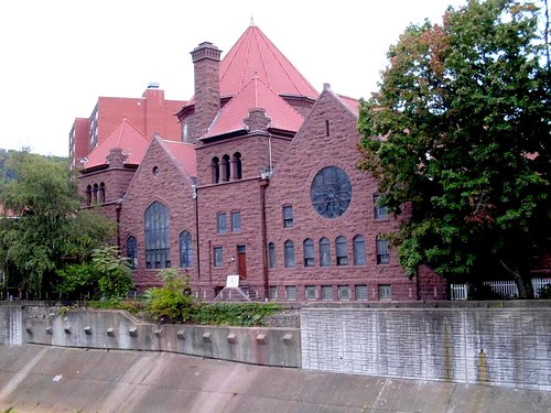 tower church architecture religious sandstone flood pennsylvania religion gothic methodist roofline johnstown merger unitedmethodist rosewindow brethren richardsonianromanesque nationalregister cambriacounty nrhp evangelicalunitedbrethren akronplan