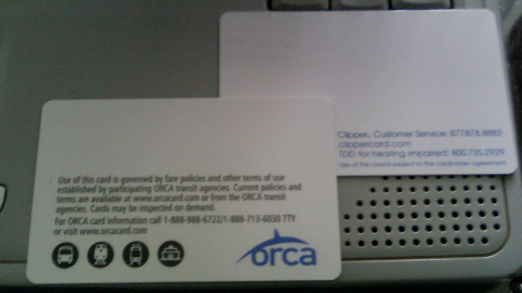 My Clipper Card and ORCA Card (back) | The Clipper Card syst… | Flickr