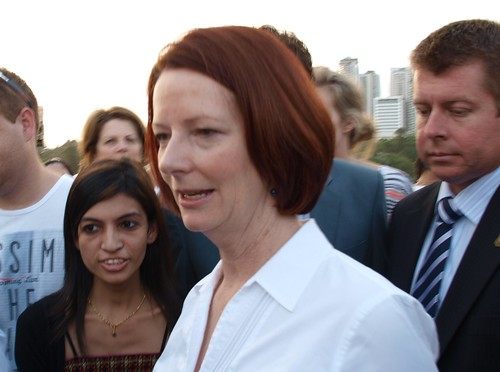 Julia Gillard lending support to Brisbane during the flood of January 2011 | by pitdroidtech