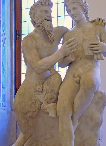 Pan Teaching Daphnis To Play The Flute Marble Roman Copy A
