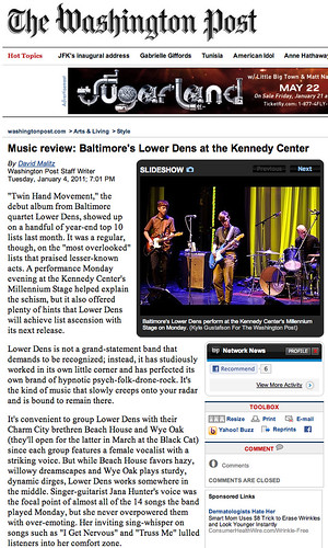 Music review- Baltimore's Lower Dens at the Kennedy Center (20110120) | by Kyle Gustafson