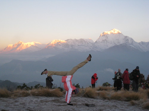 Handstand at Poon Hill, Annapurna Circuit, 6am sunrise = wow! | by April Rinne