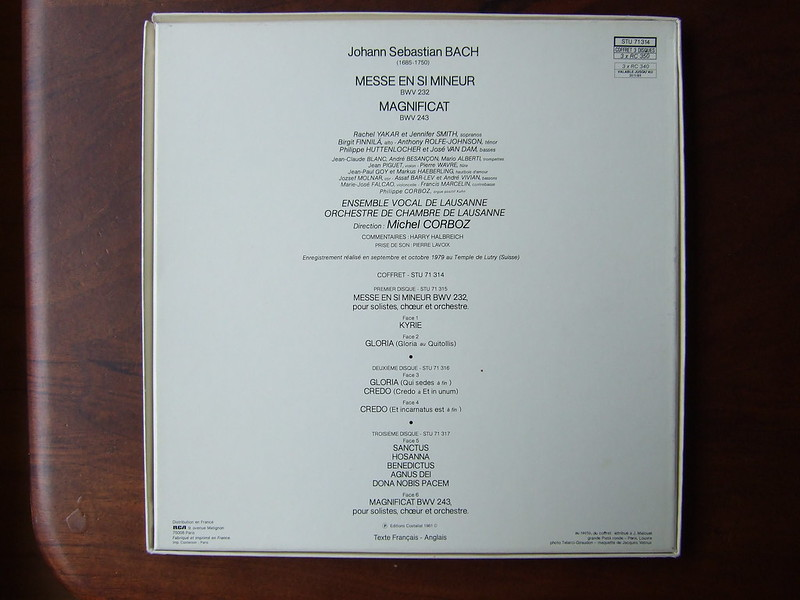 Backside Bach - Messe en Si Mineur/ Hohe Messe H-moll/ Mass in B Minor BWV232 & Magnificat BWV 243 - Solistes & Vocal Ensemble & Chamber Orch. Lausanne, Michel Corboz, Erato(3Lp)
