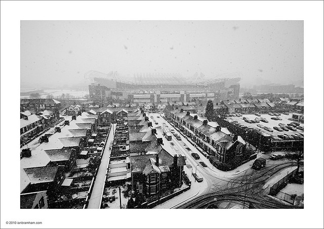Old Trafford in the Snow