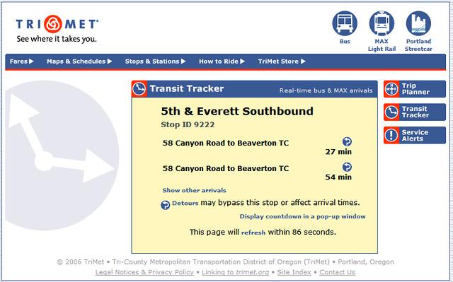 Transit Tracker Line 58 oddities