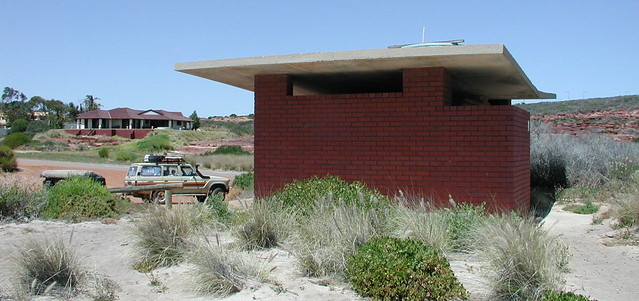 last house on edge of Kalbarri with nice view of public loos at Red Bluff.