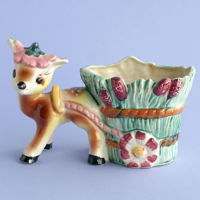 Vintage Deer Flower Cart Planter
