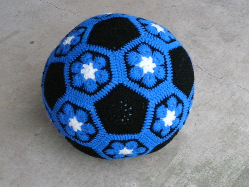 The completed Duke Blue crochet soccer ball