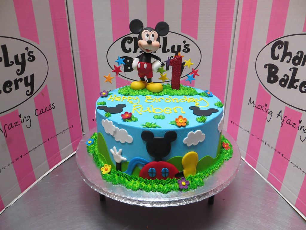 Magnificent Mickey Mouse Themed 1St Birthday Cake With 3D Figurine On Flickr Personalised Birthday Cards Veneteletsinfo