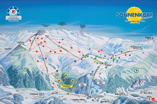 Klösterle - Sonnenkopf - mapa sjezdovek