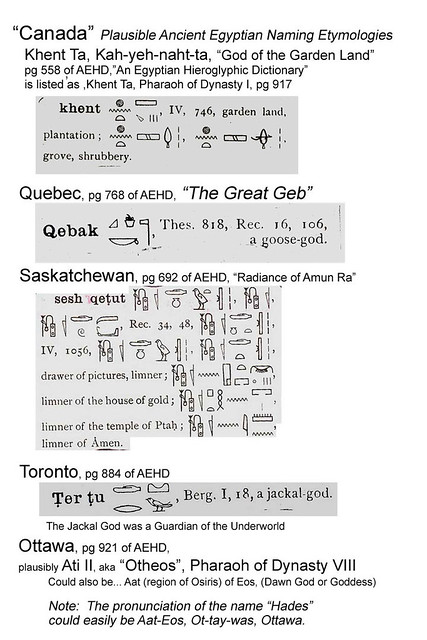 Native Canadian Names:  Egyptian Etymologies?