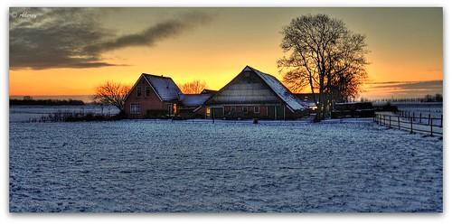 trees winter sunset orange holland art netherlands dutch landscape fun europe colours different arts nederland surreal hallucination groningen beautifull groningerlandschap singlerawhdr aheroy aheroyal beautifulgroningen