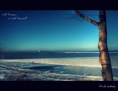 blue ohio lake ice water skies erie fairport