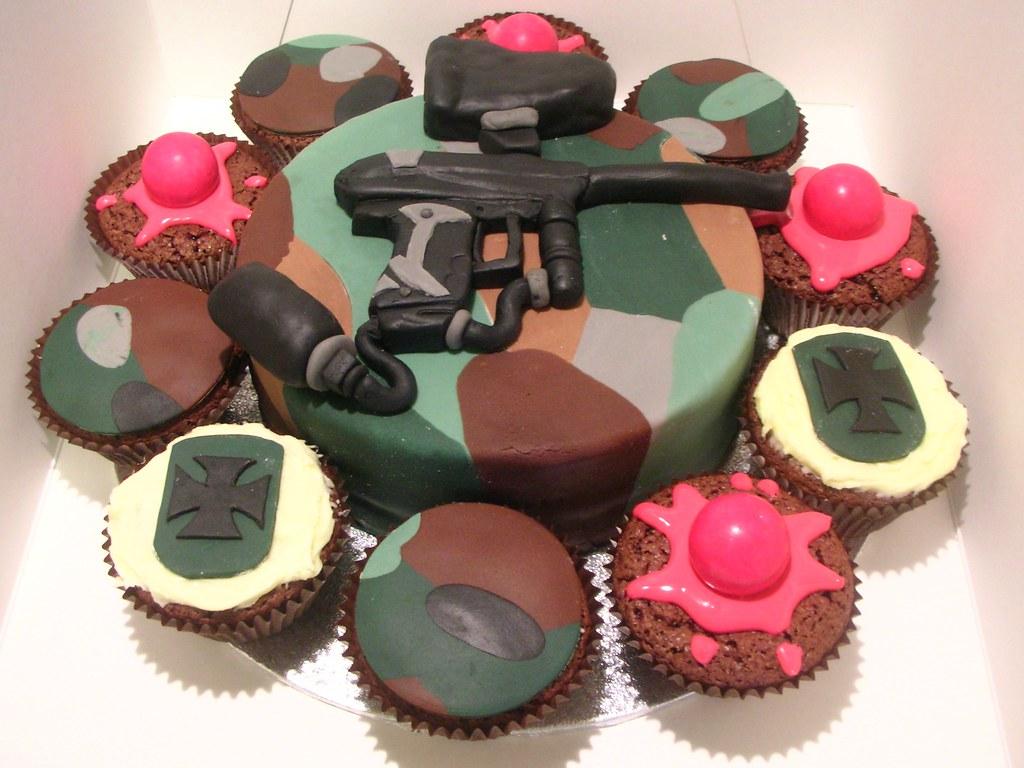 Amazing Paintball Birthday Cake Victoria Sponge Filled With Jam An Flickr Birthday Cards Printable Giouspongecafe Filternl