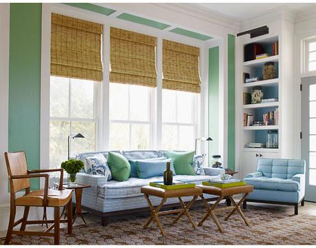 Crisp blue + green living room: Benjamin Moore \'Cedar Gree… | Flickr