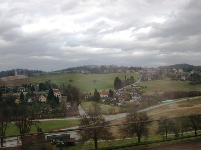 landscape from train, austria