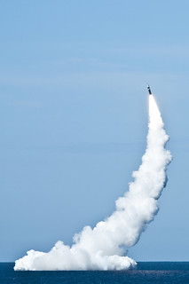 Unarmed Trident missile launches from submarine. | by Official U.S. Navy Imagery
