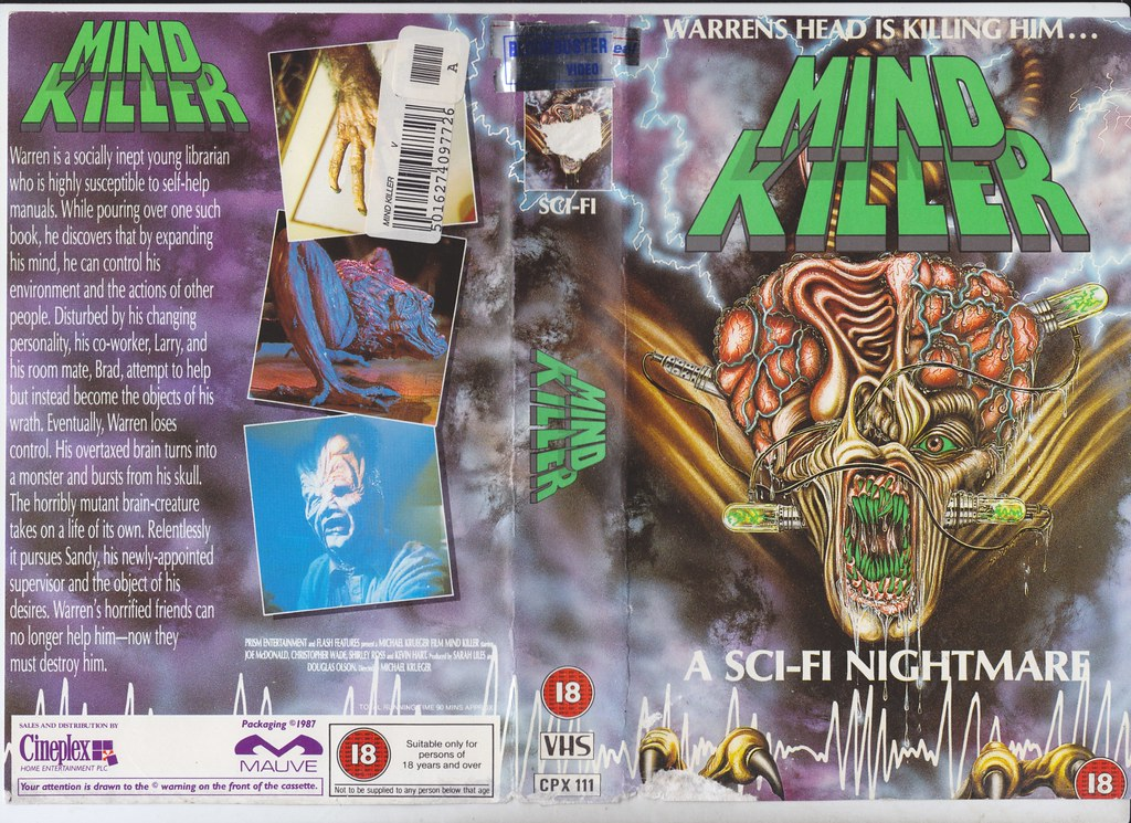 Mind Killer, 1987 (VHS Box Art) | monsterbrains blogspot com