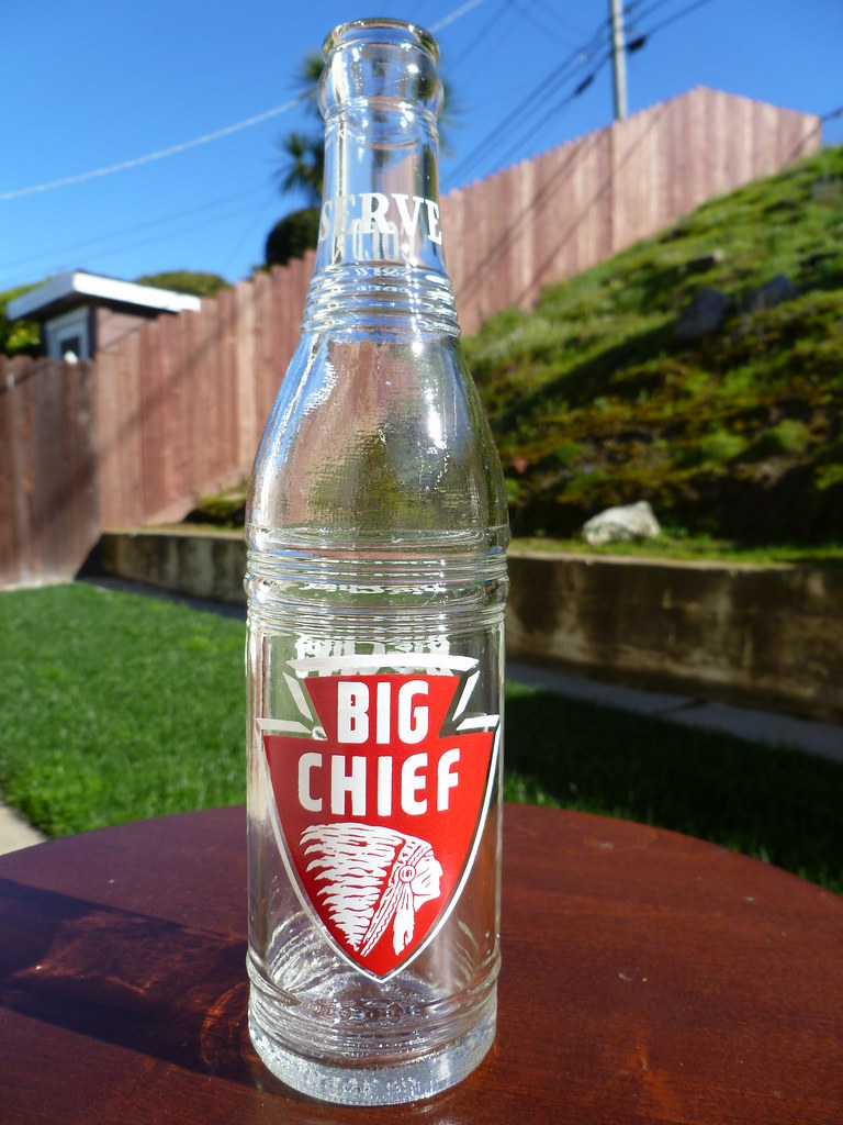 Painted label (ACL) soda pop bottle. Big Chief, Coca Cola