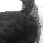 309010欧根纱拼布绣花中袖裙 2 4 6 绿色-黑色-浅黄色   胸86 长86 腰70 (5)