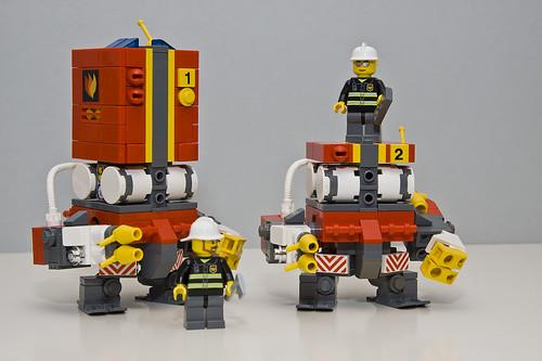 Fire-fighter mech & drone