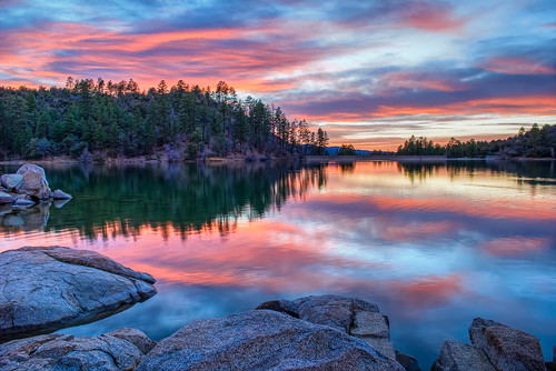 trees sunset arizona lake reflection water night clouds photography michael photo cloudy photos pics pic granite wilson prescott goldwater michaelwilson azh michaelwilsoncom