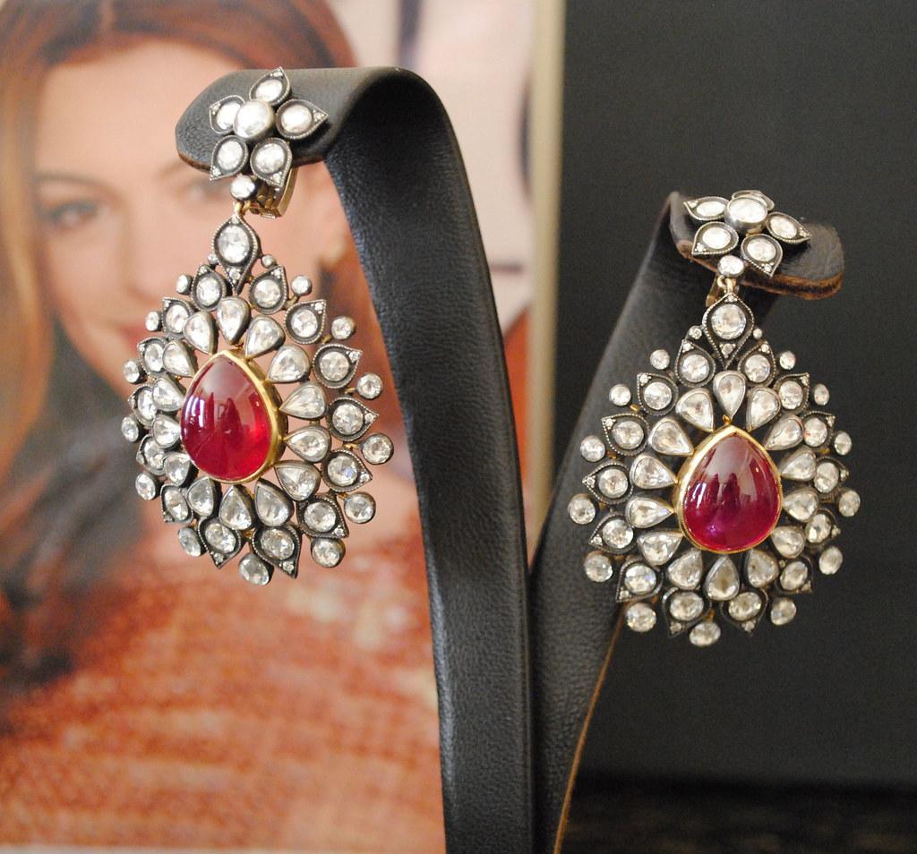 Gilan earrings, cabochon rubies and rose cut diamonds | Flickr