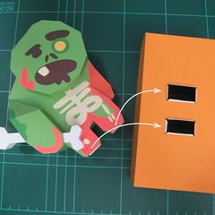 วิธีทำโมเดลกระดาษตุ้กตา คุกกี้ รัน คุกกี้รสซอมบี้ (LINE Cookie Run Zombie Cookie Papercraft Model) 028