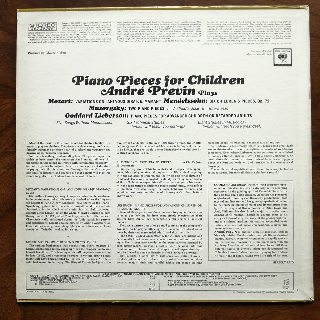 Backside Mozart, Mendelssohn, Mussorgsky, Lieberson - Pian… | Flickr