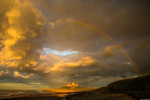 bamburgh northumbria castle beach coast coastal sea cloud clouds sunset rainbow colour golden goldenhour mpt509 matchpointwinner