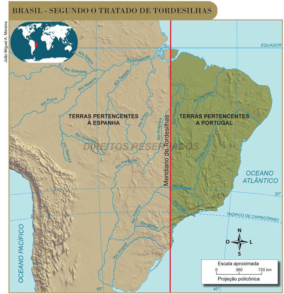 Brasil Tratado De Tordesilhas Mapa Com Textura Do Relevo Flickr