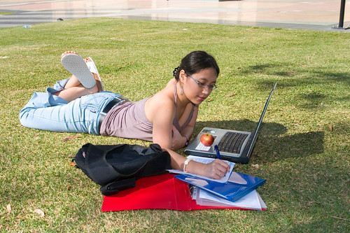 College Student Studying Outside | by Duke TIP
