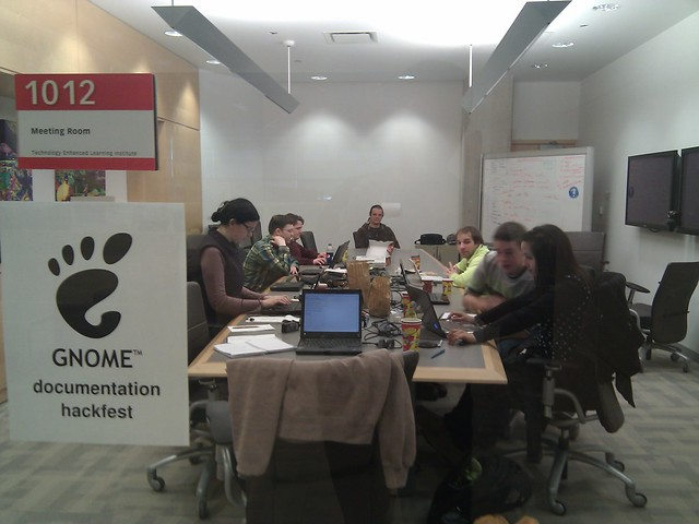 Documentation team at work, sharing a big table.