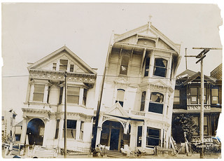 Photograph of the Effect of Earthquake on Houses Built on Loose or Made Ground After the 1906 San Francisco Earthquake, 1906 | by The U.S. National Archives