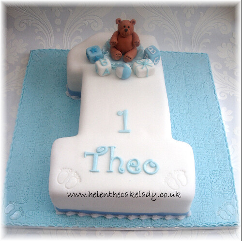 Astounding Boys 1St Birthday Cake With Teddy A Simple But Effective 1 Flickr Personalised Birthday Cards Bromeletsinfo