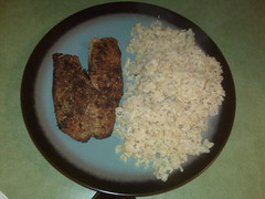 Parmesan and Garlic Crusted Tilapia with Brown Rice JB