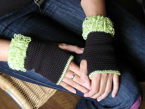 Fuzzy fingerless mittens | These are my own crochet