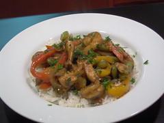 Lemon-Marinated Chicken and Shrimp over Basmati Rice